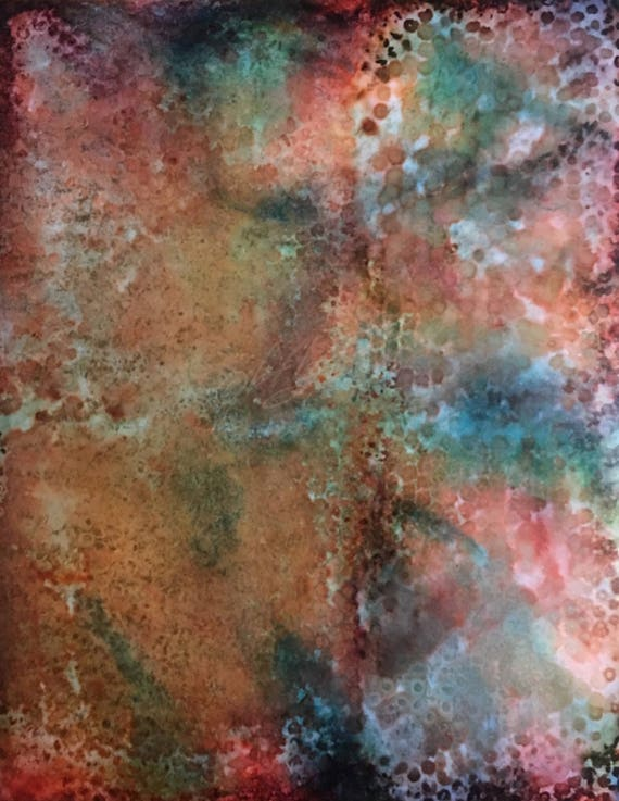 "Original Alcohol Ink Abstract Painting: ""Slither"" (11"" X 14"")"