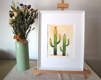 Cactus twins watercolor print