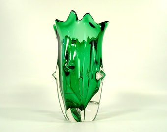 Vintage Glass Vase / Vintage Home Decor / Green Vase / Made in 70s / Retro Vase / 70s Yugoslavia / Murano Style Vase