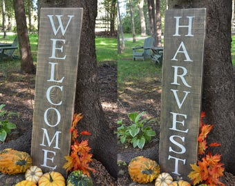 Reversible! Welcome/Harvest Rustic Wooden Sign Painted Sign Barnboard Sign Country Chic Decor Porch Sign Welcome Sign House Warming Gift