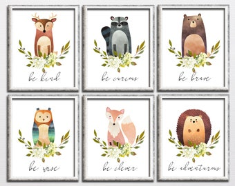 Woodland printable nursery art set, be kind be wise be brave, bear fox owl nursery art, kids room woodland wall decor download