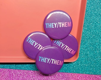 They/Them Pronoun Button Badge Trans Badge Trans Pin Queer FTM MTF Trans Symbol Badge Transgender