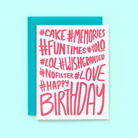Hashtag Birthday Card Hashtag Happy Birthday Fun Birthday