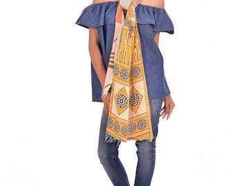 Reversible Vintage Cotton Kantha Scarf Handmade Neckwrap Hijab Stole Bandana