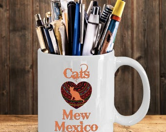 "Cats Heart Love ""mew"" Mexico Mug - New Mexico Residents"