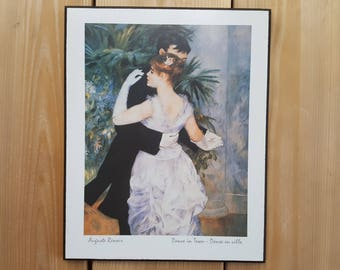Vintage August Renoir Dance in Town Fine Arts Reproduction Frameless Print Plaque Block Mounted on MDF Wood Wall Hanging Impressionist