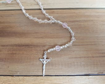 Vintage Rosary Plastic Clear and Baby Pink Beads Virgin Mary Silver Tone Crucifix Cross Antique First communion Prayer Confirmation Wedding