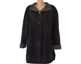 Vintage MarCona women coat black and gray virgin WOOL and  MOHAIR