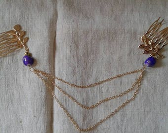 two Combs, Golden beads and chains