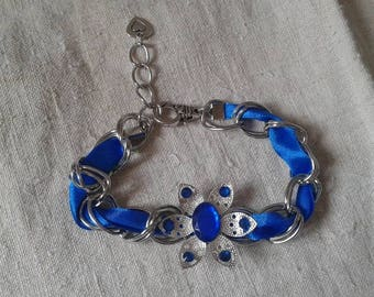 """Blue Ribbon and Silver Flower"" bracelet"