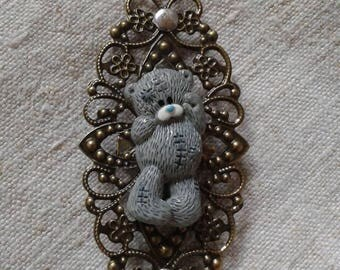 "brooch ""little grey bear print"""