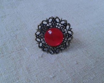 pretty ring in bronze and red flower