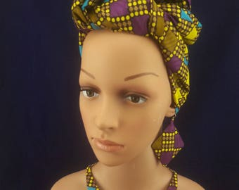 Fabric ethnic necklace African wax