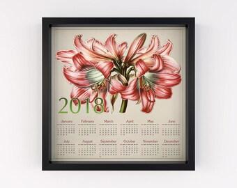 Calendar 2018 floral, Calendar 2018 wall, Calendar 2018 print, Calendar 2018 download, Calendar 2018 printable, Calendar 2018 art, New year
