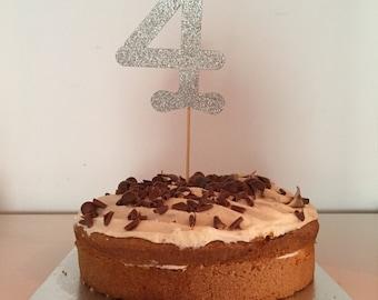 Number 4 cake topper. Silver glitter cake topper.