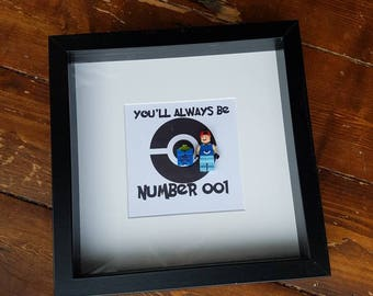 Numer001//Pokemon//Ash//Bulbasaur//Minifigure//Anniversary//Valentines Day//Shadow Box Frame//Gift//Personalise//Geek//Lego