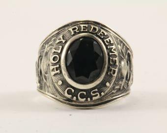 "Vintage Black Stone ""Holy Redeemer"" Ring 925 Sterling Silver RG 2739"