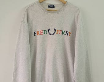 Rare!! Vintage FRED PERRY Sweatshirts Crewneck Embroidered Logo LL Size