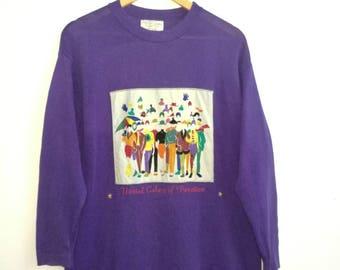Rare!! Nice Design United Colour Of Benetton Purple Colour Long Sleeve Stretch Cotton