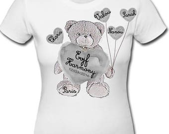 t-shirt Beary grey hearts personalized bachelorette party balloons (Teddy bear and balloons cookie hearts)