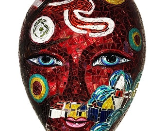 Mosaic Stained Glass Mask, Van Gogh Theme