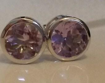 Large Rose de France Amethyst stud earrings in 925 silver