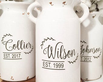 Milk Can | Personalized milk jug vase with last name personalization| vintage milk jug| Rustic Milk jug | Wedding Gift |housewarmin