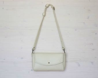 White Leather Clutch, Leather Clutch, White Bag, Mini Bag, Small Bag, Small Leather Pouch, Handbag Small, Evening Bag, Envelope Clutch