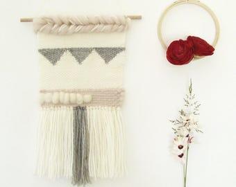 Weaving / wall hanging / ecru, gray and pink modern wall decor