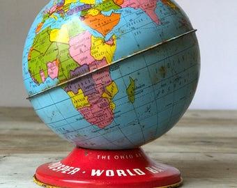 Vintage World Globe Bank, Ohio Art Co. tin globe bank