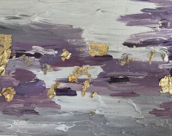 Untitled #18: Original Lavender Oil Painting With Gold Leaf
