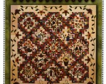 "Primitive Gatherings Wool Quilt Pattern - Sunflower Gatherings - 69 x 69"""