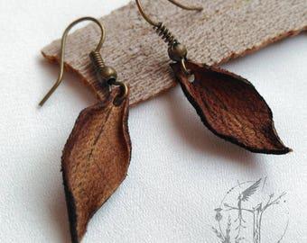 Slope of dry leaf. Litter Handmade Leather