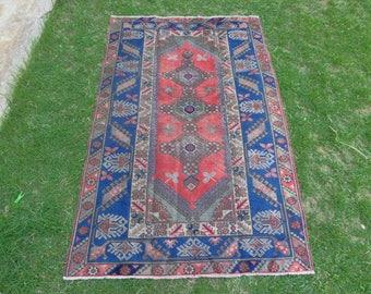 Turkish Rug, Turkish Area Rug, Vintage Turkish Rug, Blue Turkish Rug, Tribal Rug, Floral Rug