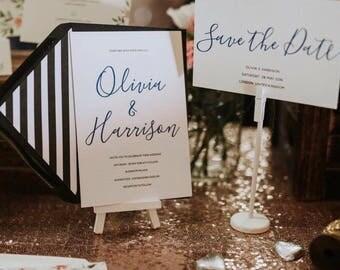 Elegant Blue & Black Wedding Invitation and RSVP - Modern Calligraphy Wedding Invitation - Simple Wedding Stationery