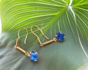 Blue stone earrings Tenderness Shining blue Sparkling blue Vintage  1980s Simplicity tenderness of color
