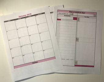 One-Month Customizable 2018 Agenda, To-Do List, Journal Printable Planner Insert Pages with Two-Page Monthly Spread