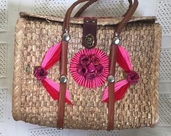 Straw Pink mexico tourist satchel