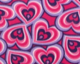 Pink Purple Hearts Printed Fleece Tied Blanket