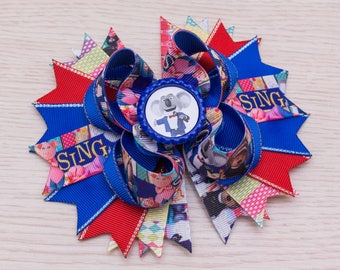 Sing Movie Hair Bow - Sing Birthday - Stacked Bow - Sing Dress - Sing Party - Sing Favors - Buster Moon - Ash - Johnny - Meena - Rosita