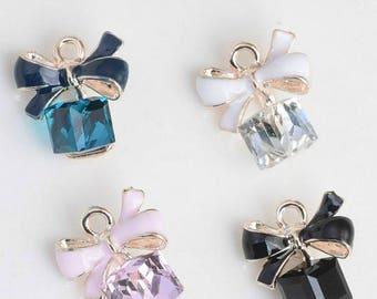 10pcs/lot  Gold Cute Enamel Bow Charms, Bowknot Pendants,Zircon Charm,Square Cube Charms Pendant