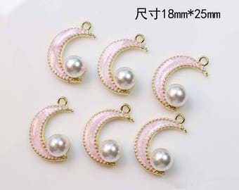 10Pcs Pink Moon Charm Enamel Charm Half Moon Pearl Charm Crescent Moon Charm Moon Pendant Bracelet Earring Making DIY Jewelry Accessories