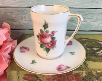 Pink Roses RS Tillowitz Teacup and Saucer Set Gold Fine Bone China Vintage Germany Made Lovely