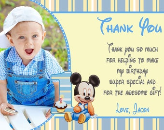 Baby Mickey Mouse First Birthday Thank You Card Baby Mickey Mouse Birthday Party