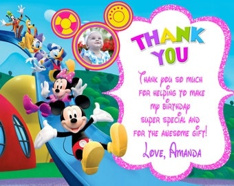Mickey Mouse Clubhouse Thank You Card Birthday Party
