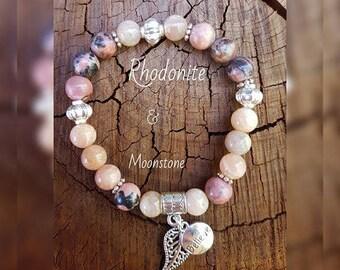 Rhodonite & Moonstone chakra Gemstone Bracelet