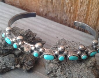 Vintage Zuni Native American Sterling Silver and Turquoise Childs Cuff Bracelet