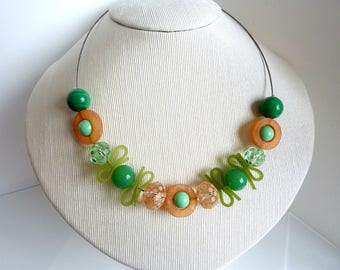 Green Mint and peach necklace
