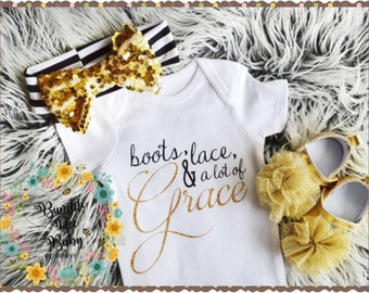 Monogrammed Baby Girl Newborn Onesie Coming Home Outfit Biblical Grace Gold and Black Set, Headband & Shoes Included