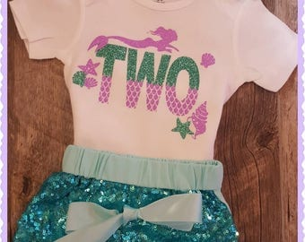 Girls Second Birthday, Mermaid Birthday, Mermaid, 2nd Birthday, Mermaid Birthday Outfit, Two Mermaid Set (You May Request Any Age)